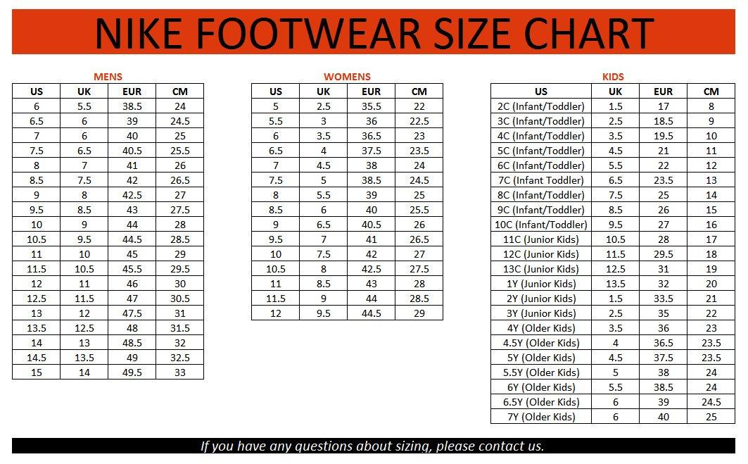 Bản quy đổi size giày đá bóng Nike chính hãng chuẩn