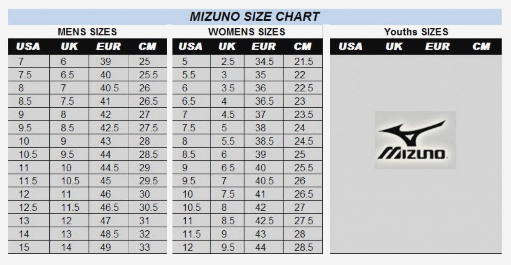Bảng quy đổi size giày đá bóng Mizuno chính hãng chuẩn nhất