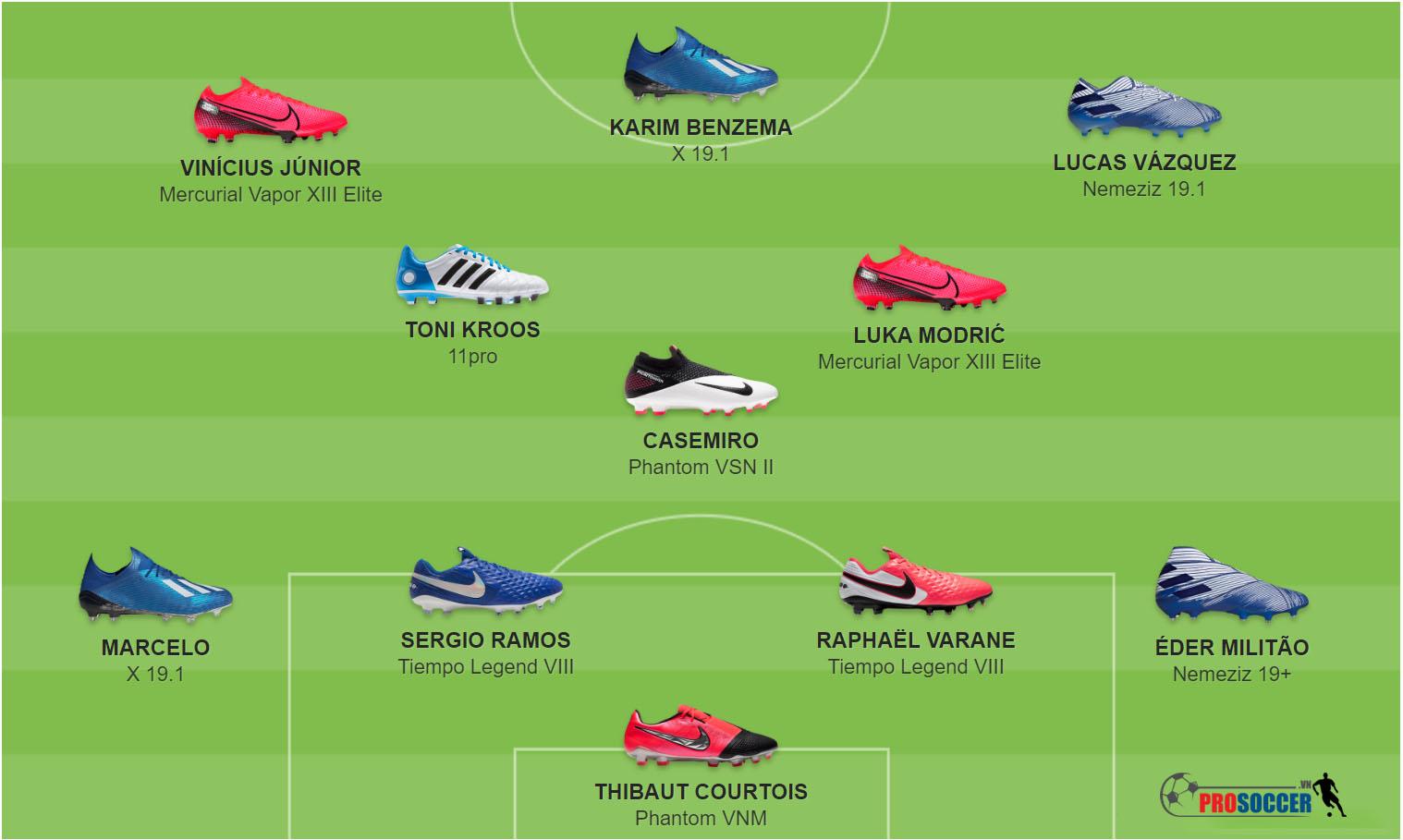 Các mẫu giày đá bóng đội hình chính Real Madrid sử dụng